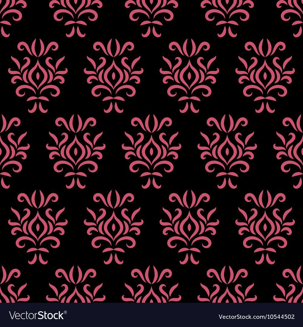 Black and pink damask stylized seamless pattern