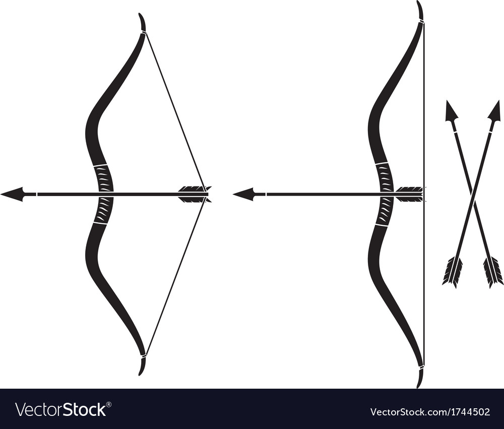 bow and arrow royalty free vector image vectorstock rh vectorstock com bow and arrow target vector cupid bow and arrow vector