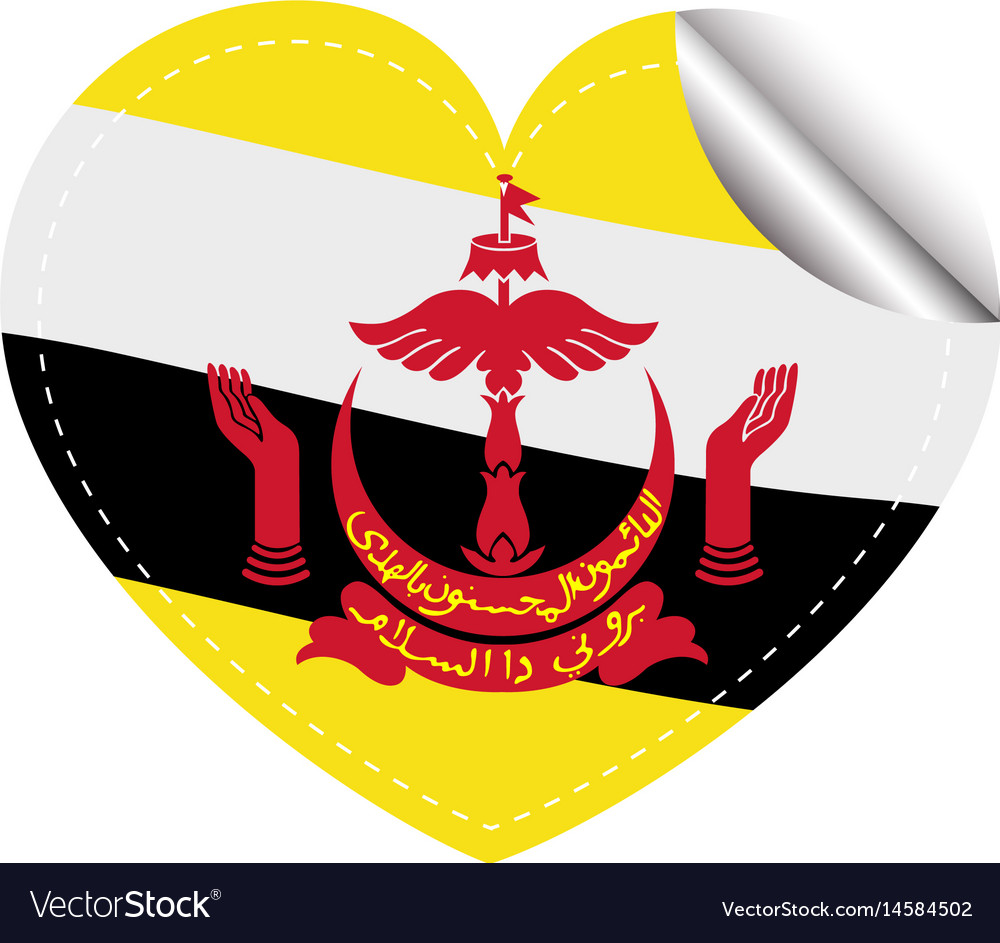 Brunei flag on heart shape sticker vector image