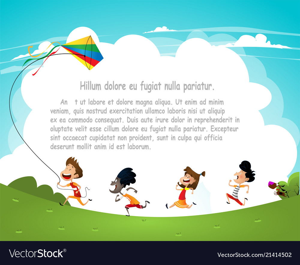 Cartoon kids flying kites