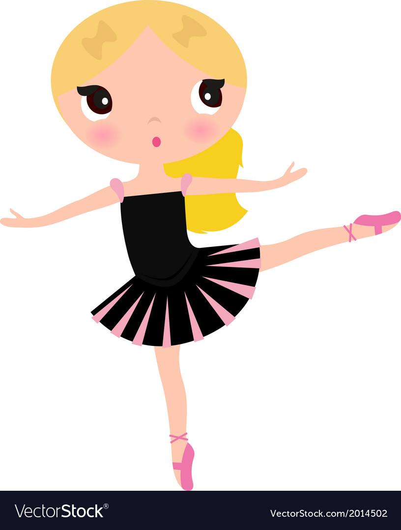 Cute posing beautiful black Ballerina girl vector image