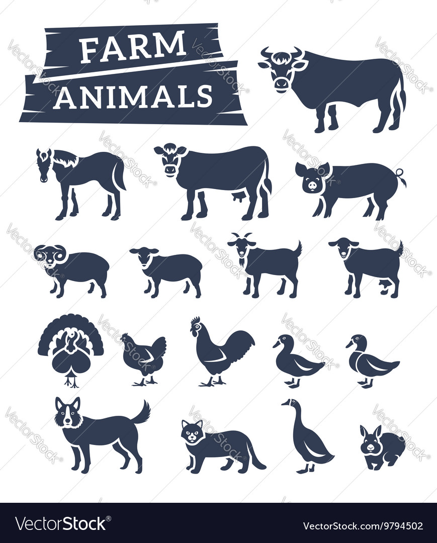Domestic farm animals flat silhouettes