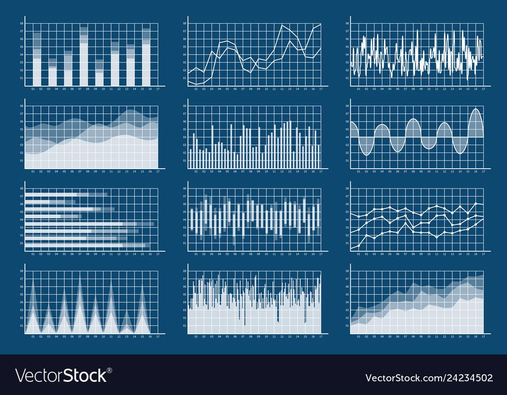 Financial chart set graphs line finance trade