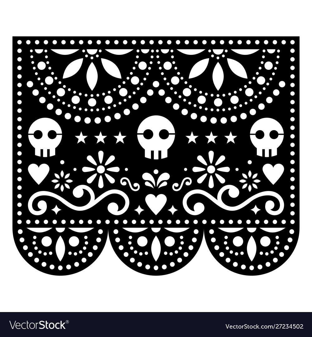 Halloween papel picado design with skulls mexican