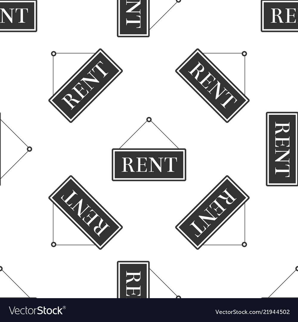 Hanging sign with text rent icon seamless pattern