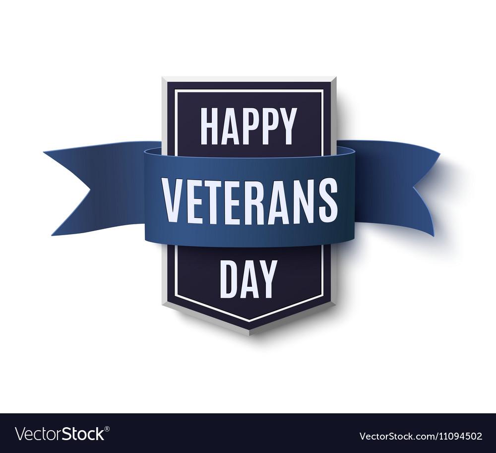 Happy Veterans Day badge on white