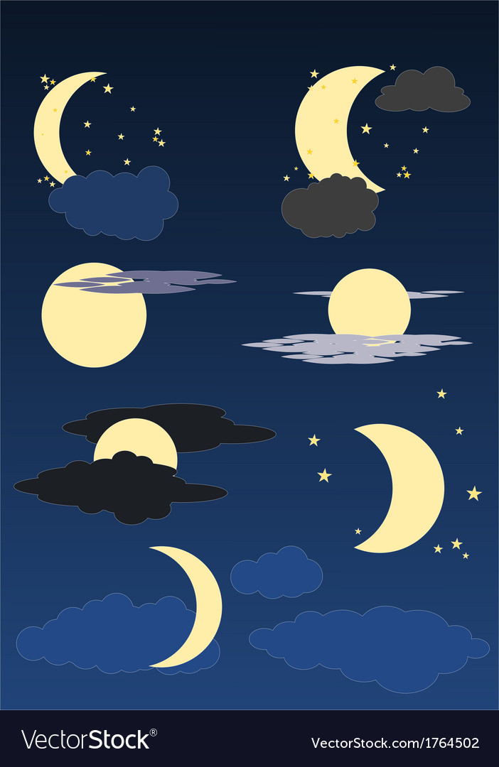 Moon stars and clouds vector image