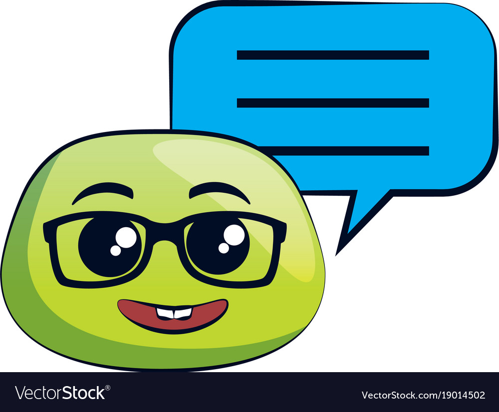 Nerd Emoji Face With Speech Bubble Royalty Free Vector Image