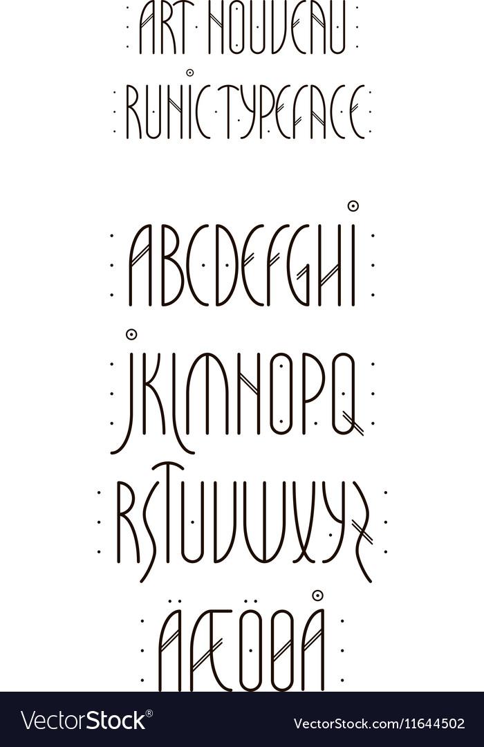 Runic Art Nouveau Alphabet vector image