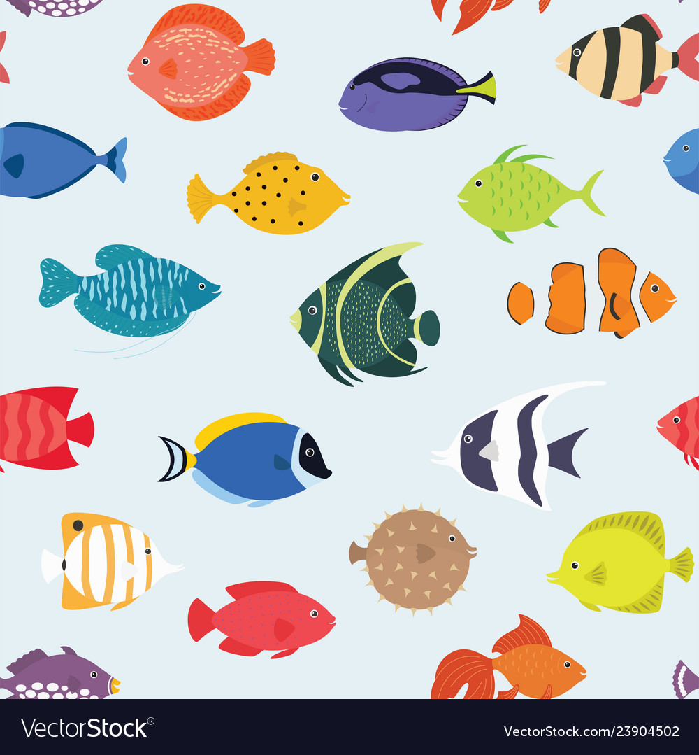 Seamless pattern with fishes hand drawn undersea