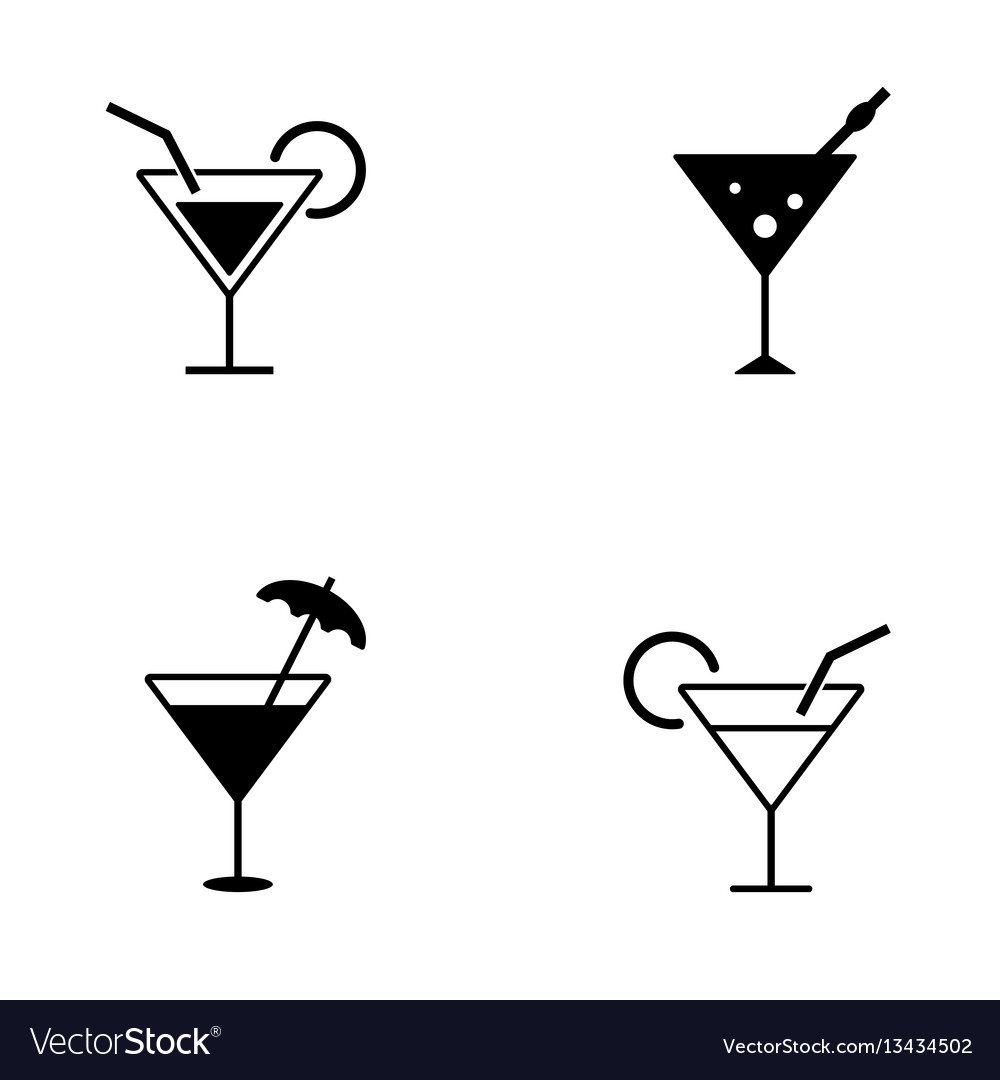 Several style of cocktail icons vector image