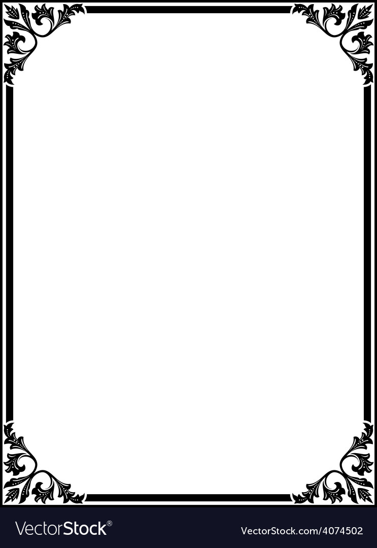 Simple black ornamental decorative frame Vector Image