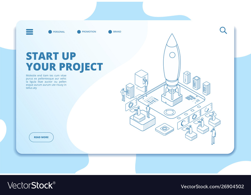 Startup landing page successful project launch