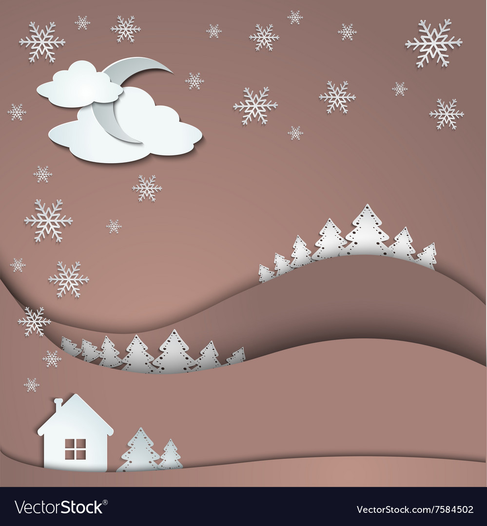 Winter background of snowflakes trees house