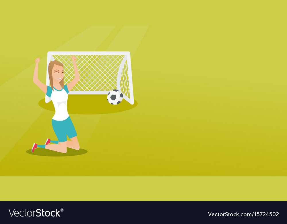 Young caucasian soccer player celebrating a goal