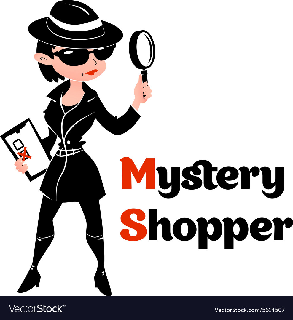 Black and white mystery shopper woman in spy coat vector image