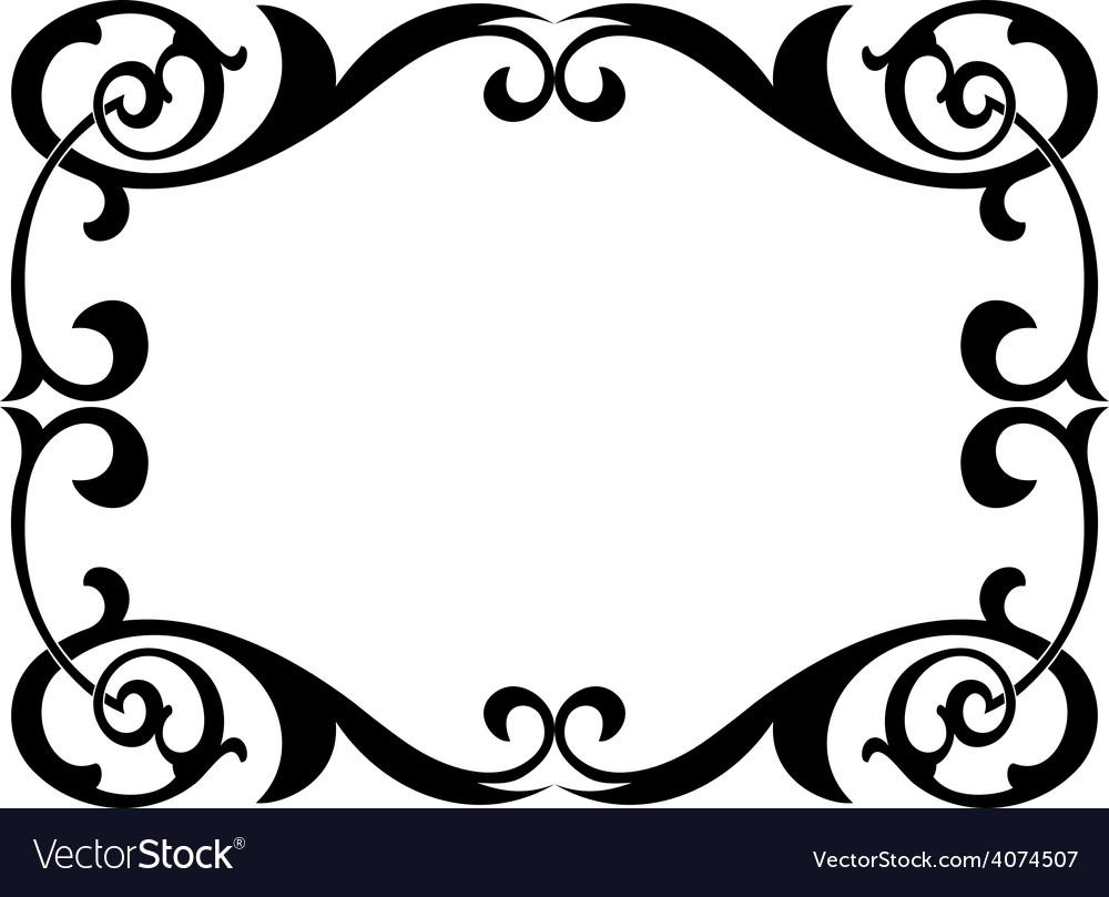Calligraphy penmanship curly baroque frame black vector image