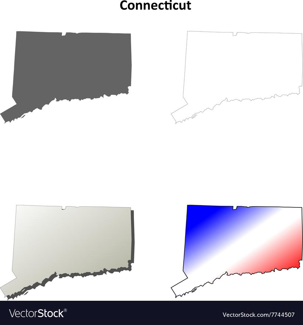 Connecticut outline map set vector image