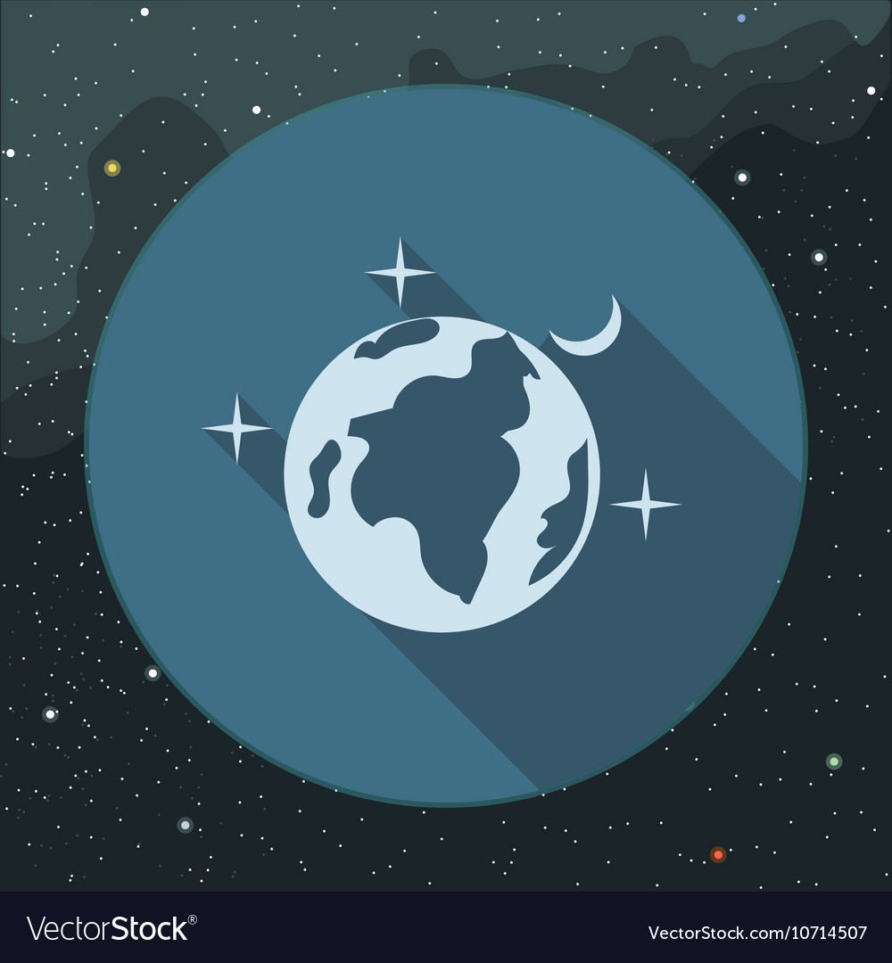 Digital planet earth icon with stars
