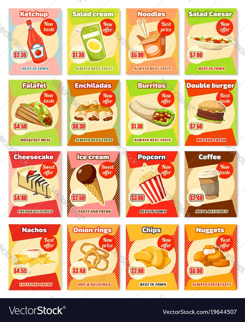 Fast food street food snacks cards menu
