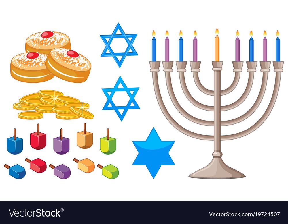 Happy Hanukkah Elements With Jewish Symbols Vector Image