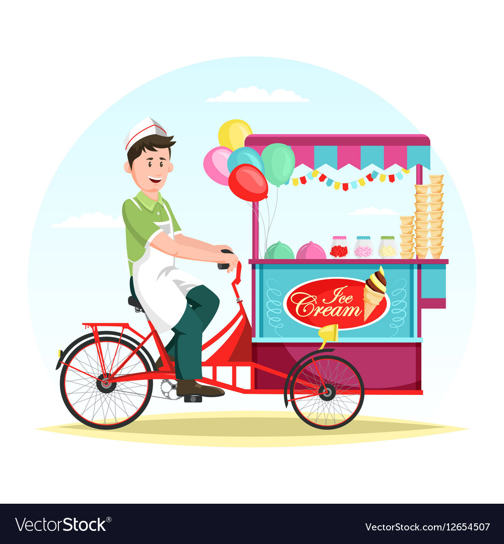 Ice cream wagon or trolley with vendor man
