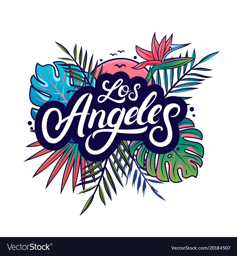 Los angeles hand written lettering vector