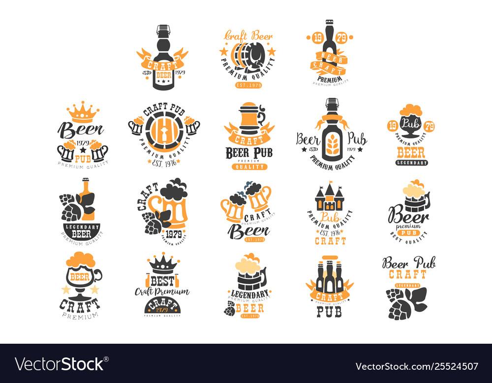 Set original black and orange beer logo