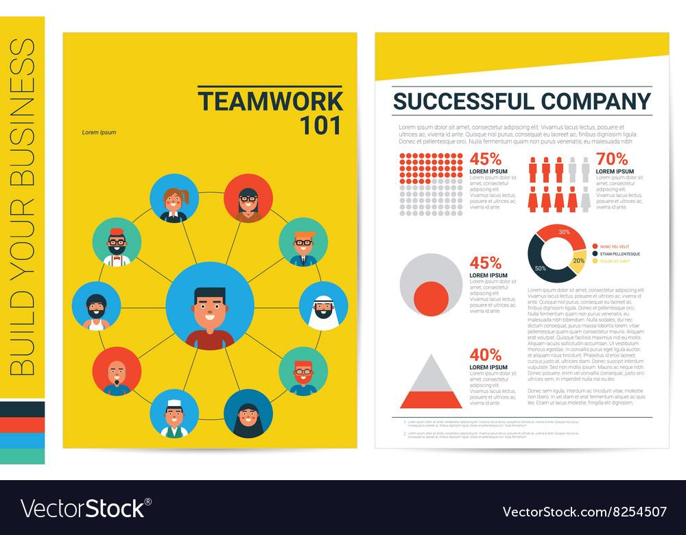 Teamwork concept book cover template vector image