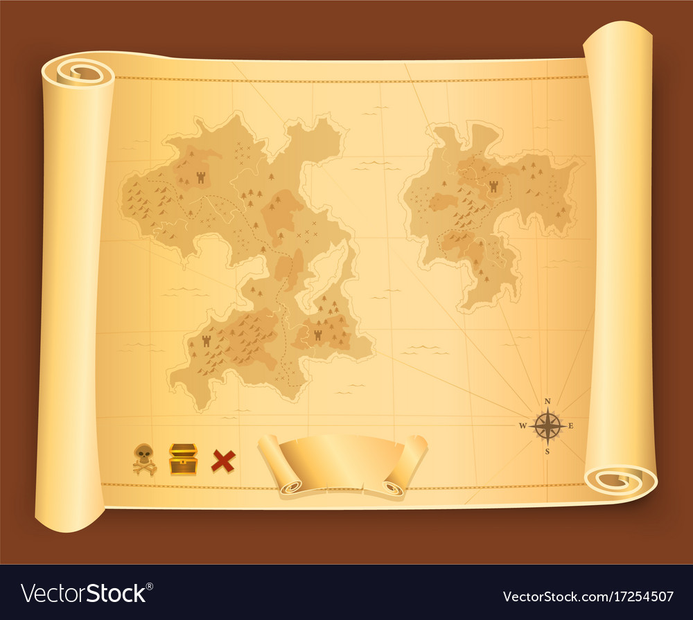 Treasure Map On Parchment Scroll Vector Image