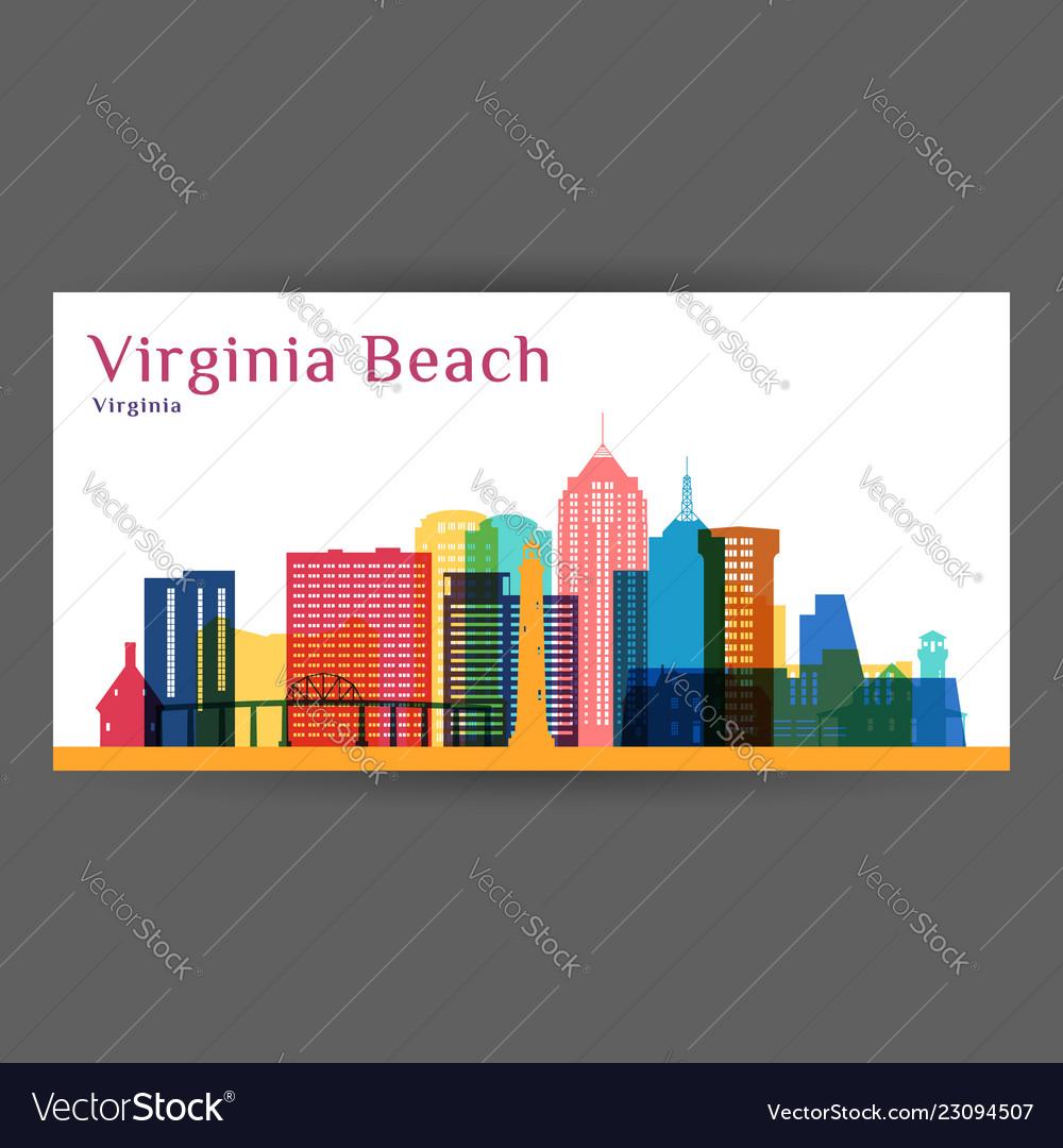 Virginia beach city architecture silhouette