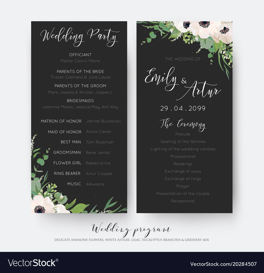 Wedding Ceremony And Party Program Card