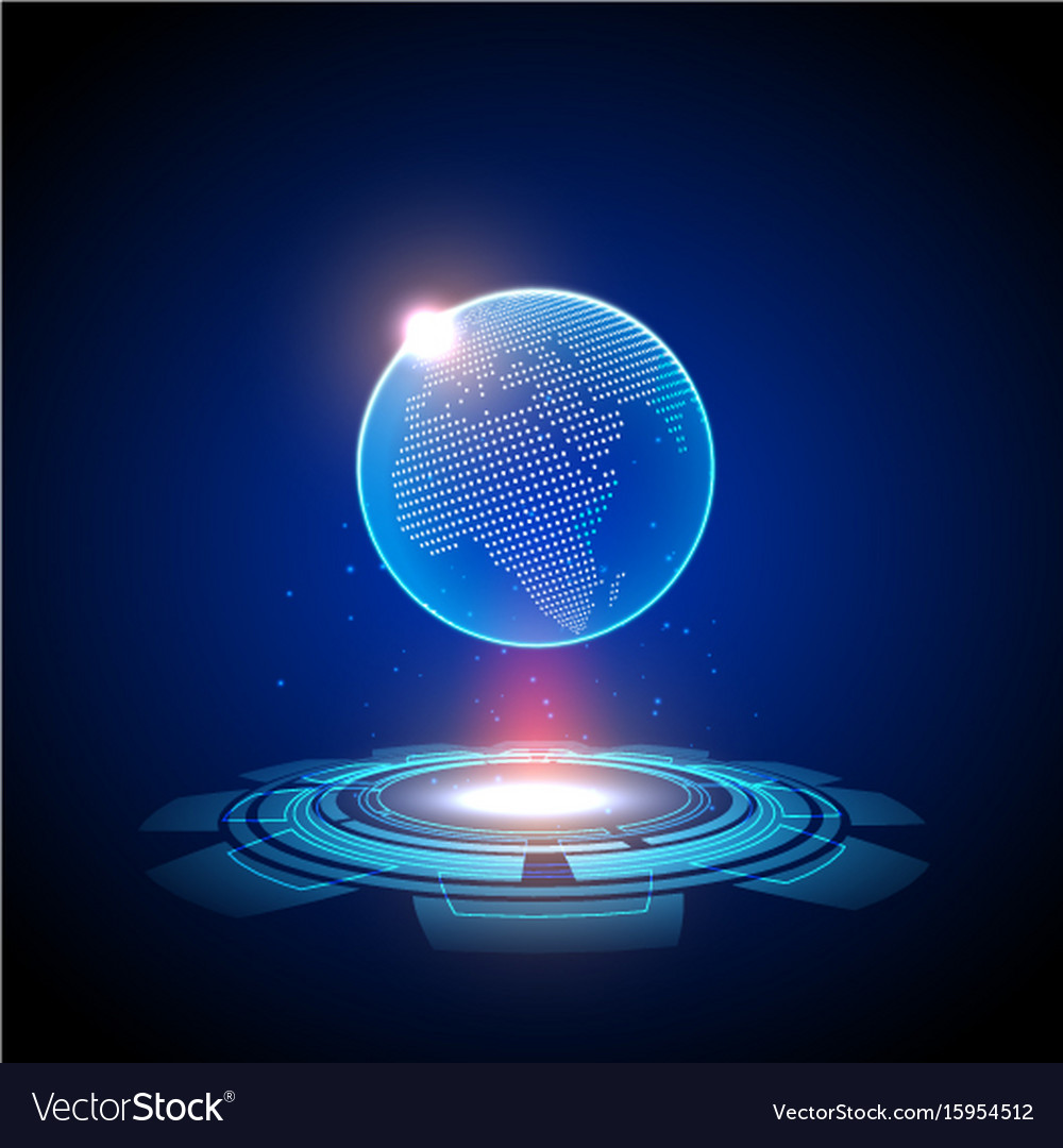 Abstract data network technology globe map vector image