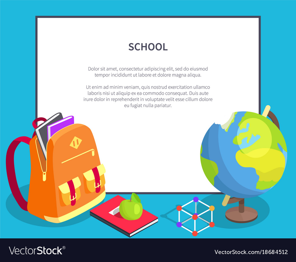 Back to school poster with geographical globe book