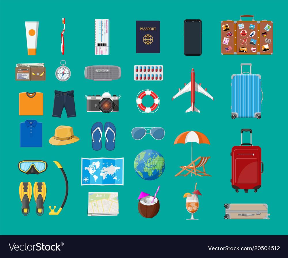 Big travel set summer holiday tourism vacation vector image
