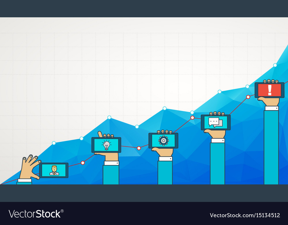 Blue business chart graph with line of increase