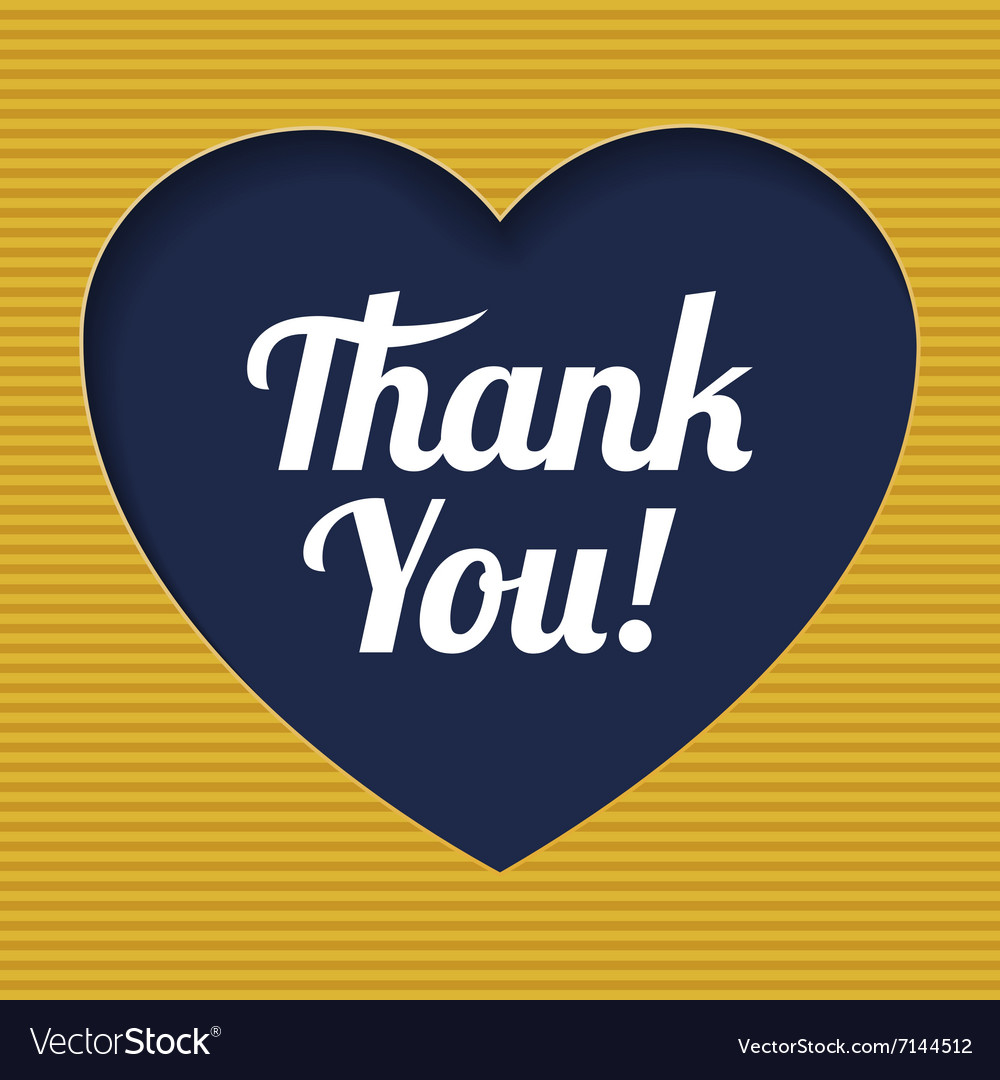 Card with heart icon and retro Thank You text vector image