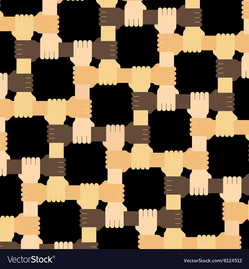 Connecting multiracial human hands pattern vector image