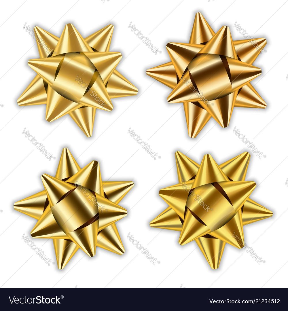 Gold bow 3d ribbon set decor elements package