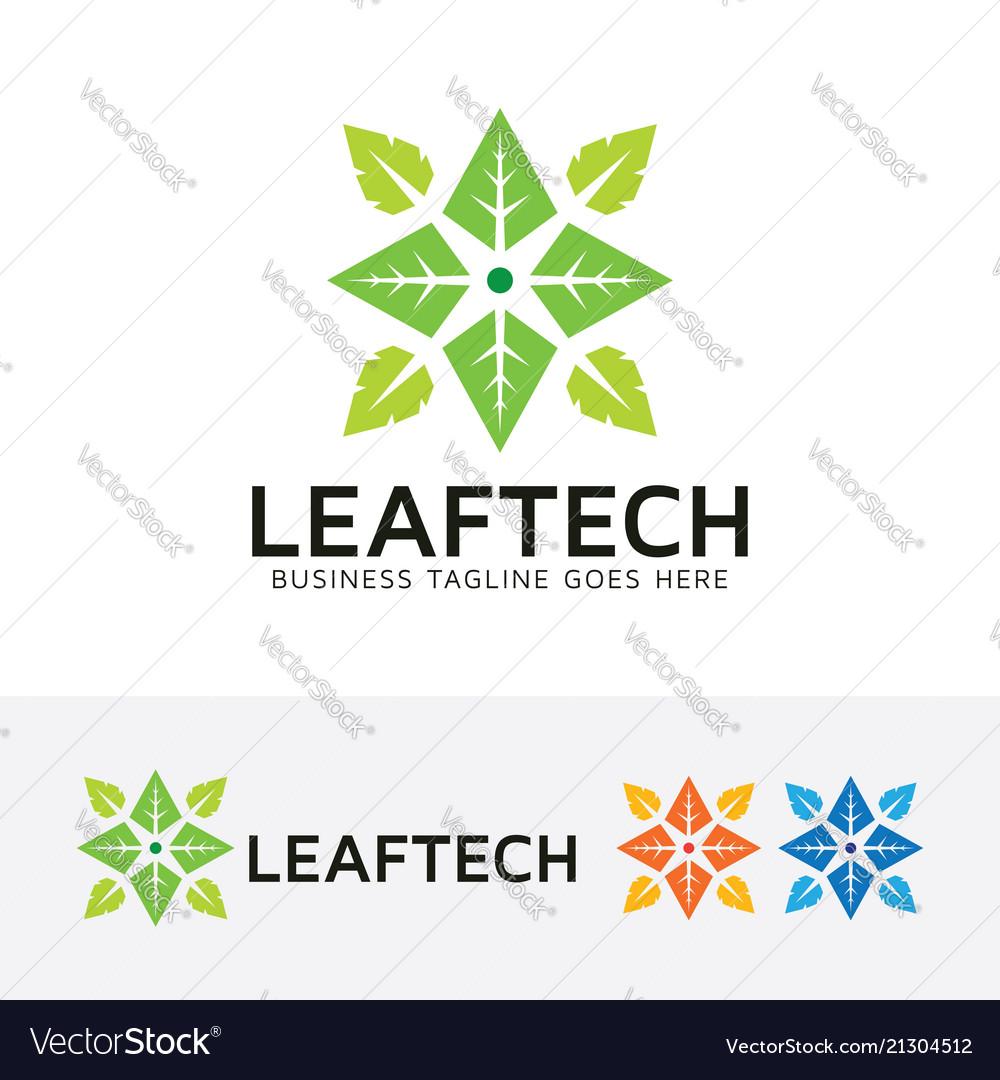 Leaf technology logo design