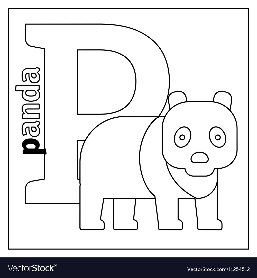 Panda letter P coloring page Royalty Free Vector Image