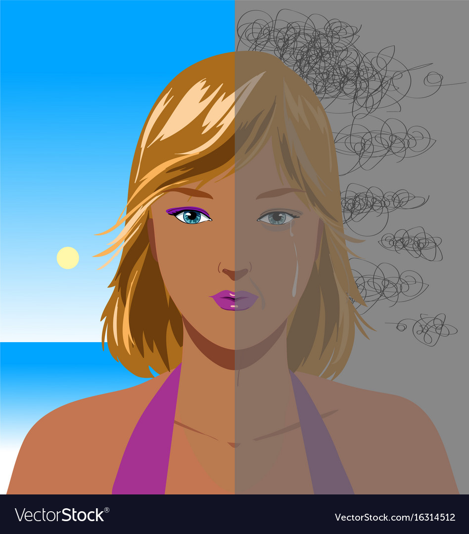 Portrait of depressed woman vector image