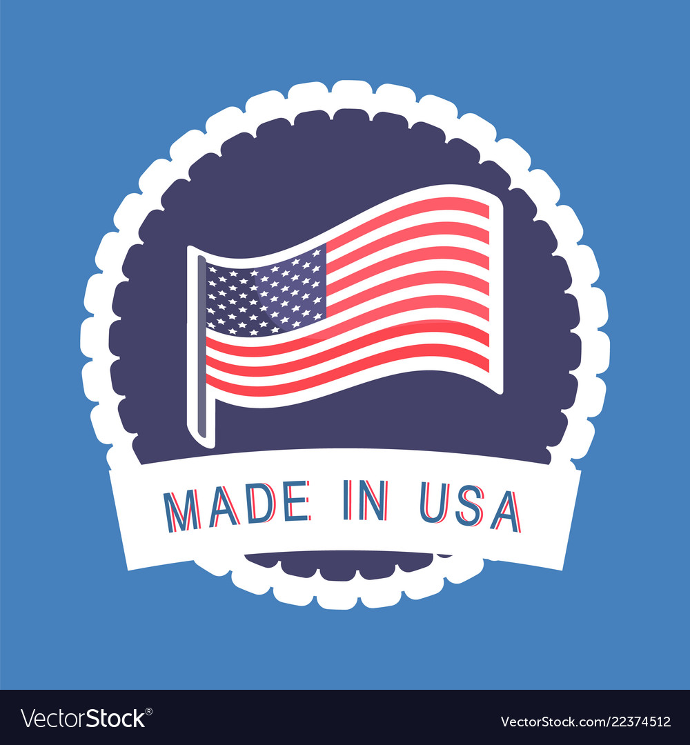 Produced in america circle shape label icon