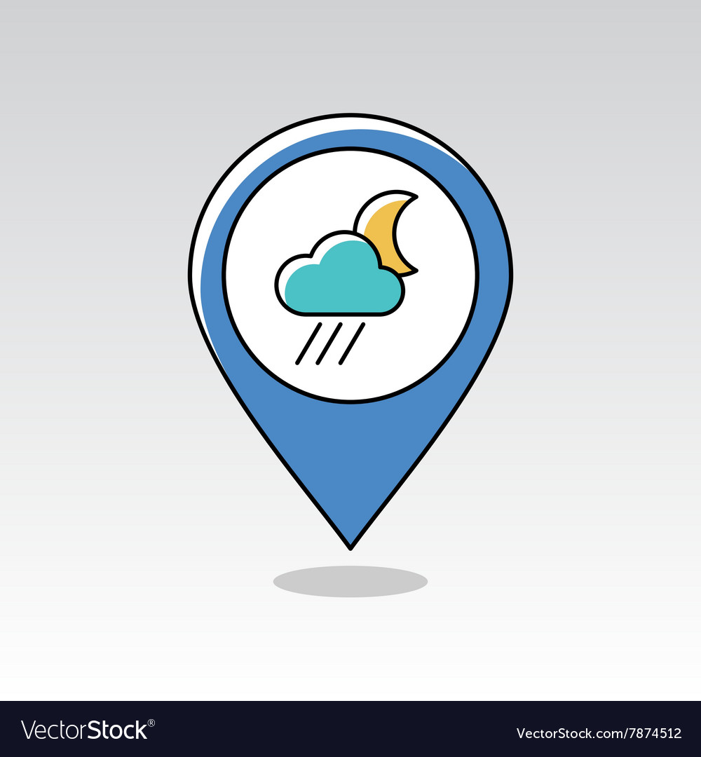 Rain Cloud Moon pin map icon Meteorology Weather