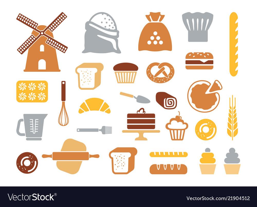 Set flat bakery icons