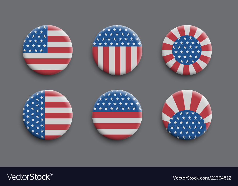 Set of 3d badges with american flag