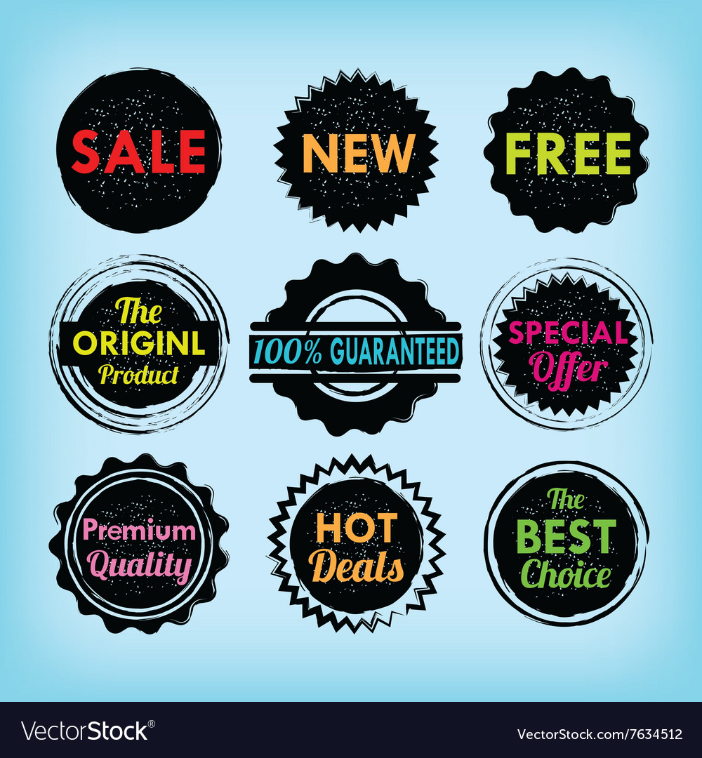 Set of black and colorful labels and badges set