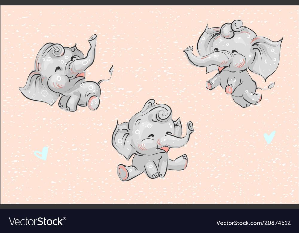 Set of cute childish cartoon baby elephants and