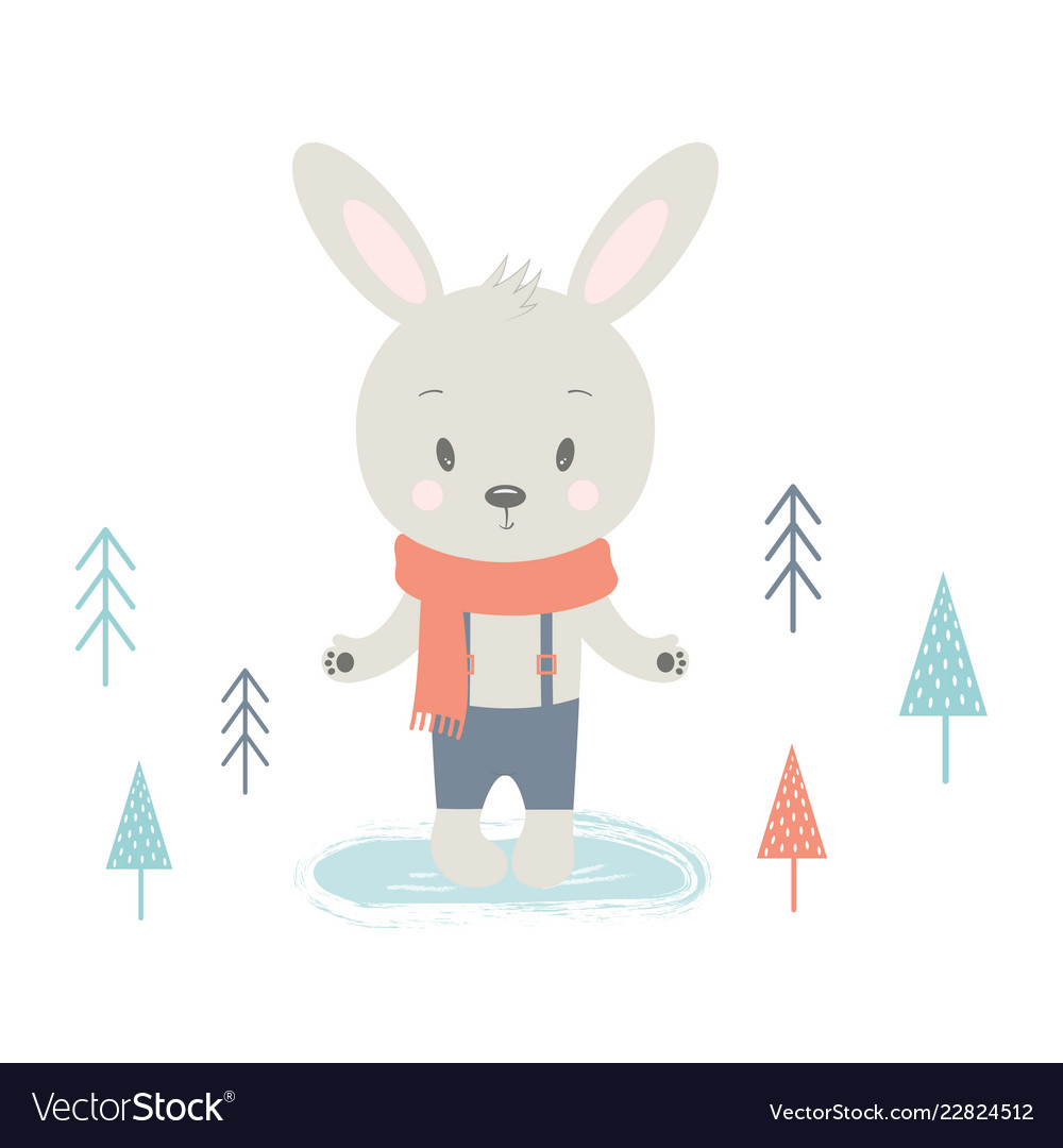 Winter card with rabbit