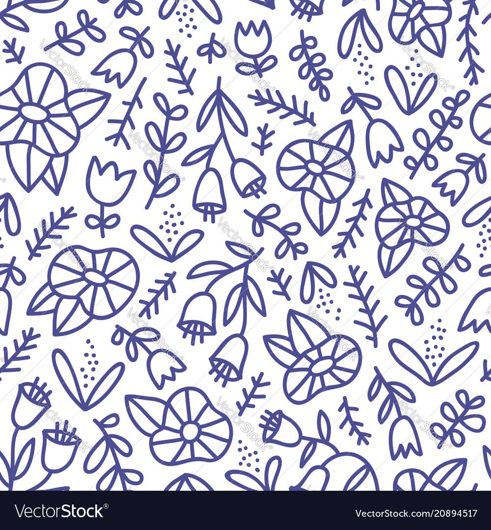 Blue doodle floral pattern